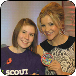 Mickey with Helen Skelton of Blue Peter